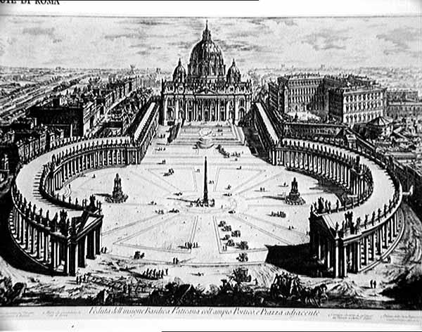 La piazza e la basilica di San Pietro. Incisione di Piranesi del XVIII secolo