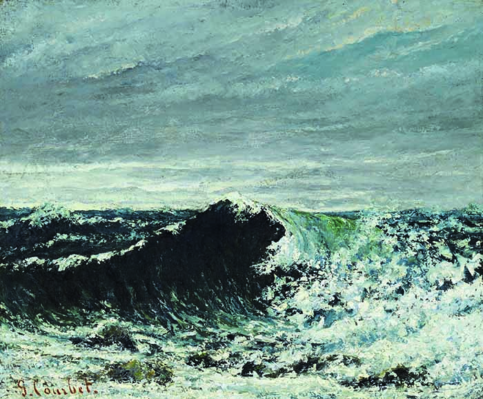 Gustave CourbetL'onda, c. 1869. Olio su tela, cm 46 x 55. Edimburgo, National Galleries of Scotland.