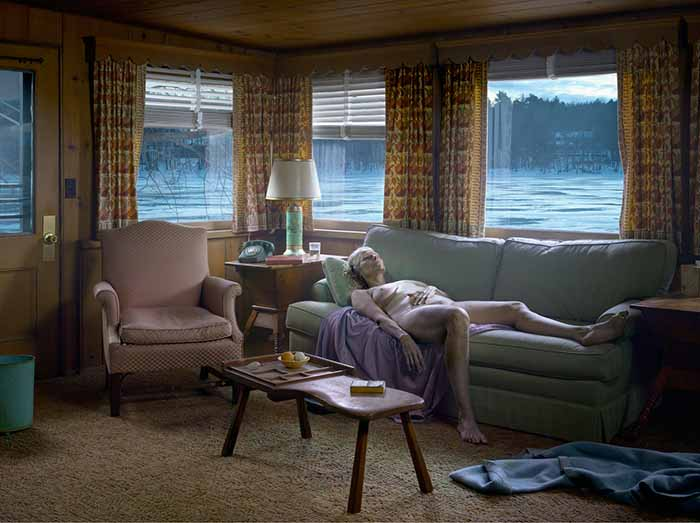 © Gregory Crewdson. Reclining Woman on Sofa, 2014. Courtesy Galerie Templon & Gagosian Gallery.