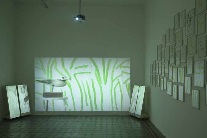 Joan Jonas, In the Trees, 2015. Installation view at Galleria Raffaella Cortese, Milano. Photo: Lorenzo Palmieri