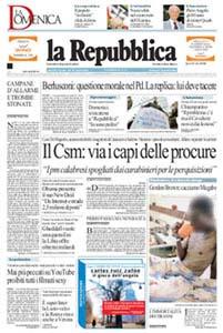 La prima pagina de La Repubblica del 7 dicembre 2008. Il volto della persona ritratta è stato sfocato da CultFrame