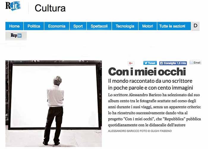 """""""Con i miei occhi"""" di Alessandro Baricco sulla pagina web de La Repubblica"""