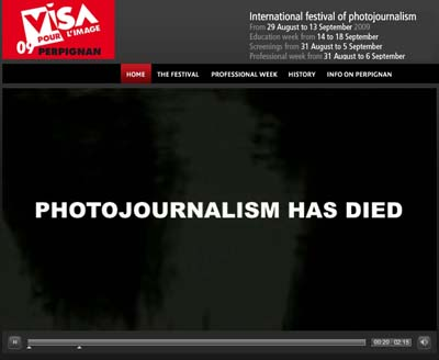Una Home Page di Visa Pour l'Image, Perpignan