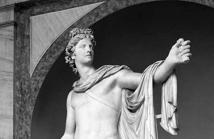 Apollo del Belvedere, Museo Pio Clementino, Musei Vaticani, Città del Vaticano, II secolo d.C., replica di un bronzo eseguito tra il 350 e il 325 a.C. dallo scultore greco Leochares