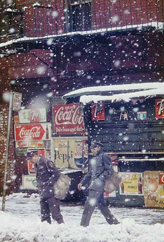 © Saul Leiter. Postmen, 1952. Courtesy Howard Greenberg Gallery, New York