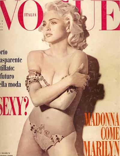 Steven Meisel. Febbraio, 1991. Vestito Gianfranco Ferrè. Modella Madonna